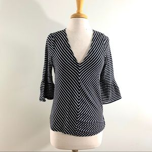Lucky Brand Black & White Striped Blouse Sz M